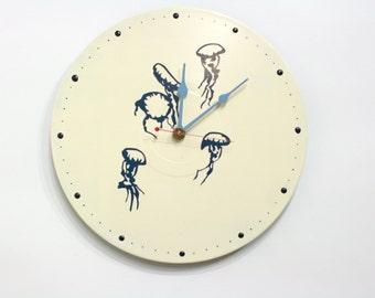 Pod of Jellyfish Vinyl Album Wall Clock White and Blue