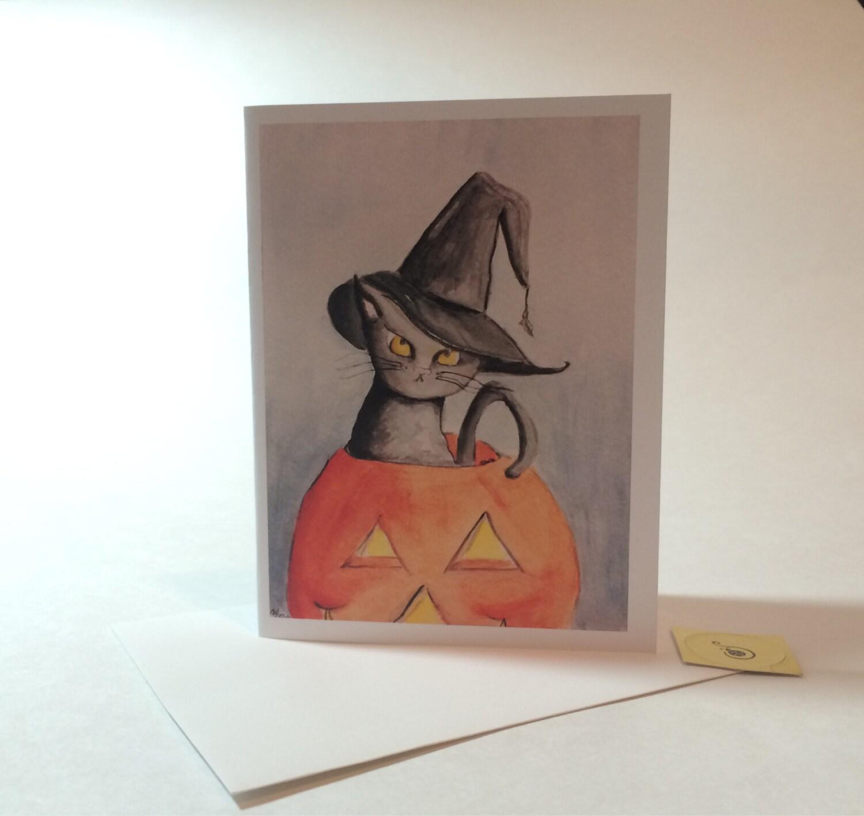 Halloween Birthday Card Witch Cat Birthday Card Black Cat