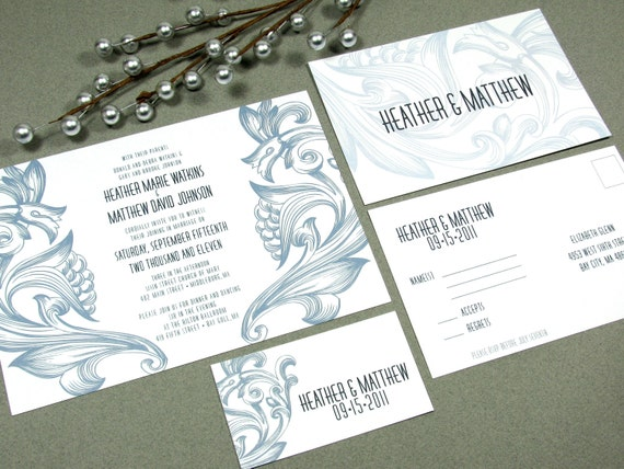 Floral Scroll Wedding Invitations by RunkPock Designs : Vintage Invites Drawn Flower Suite Art Deco Wedding Script Blue and Navy Invitation