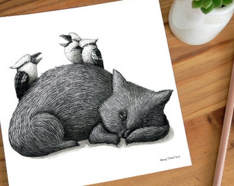 A Very Tired Wombat and 3 Kookas - ECO Limited Edition Archival Print