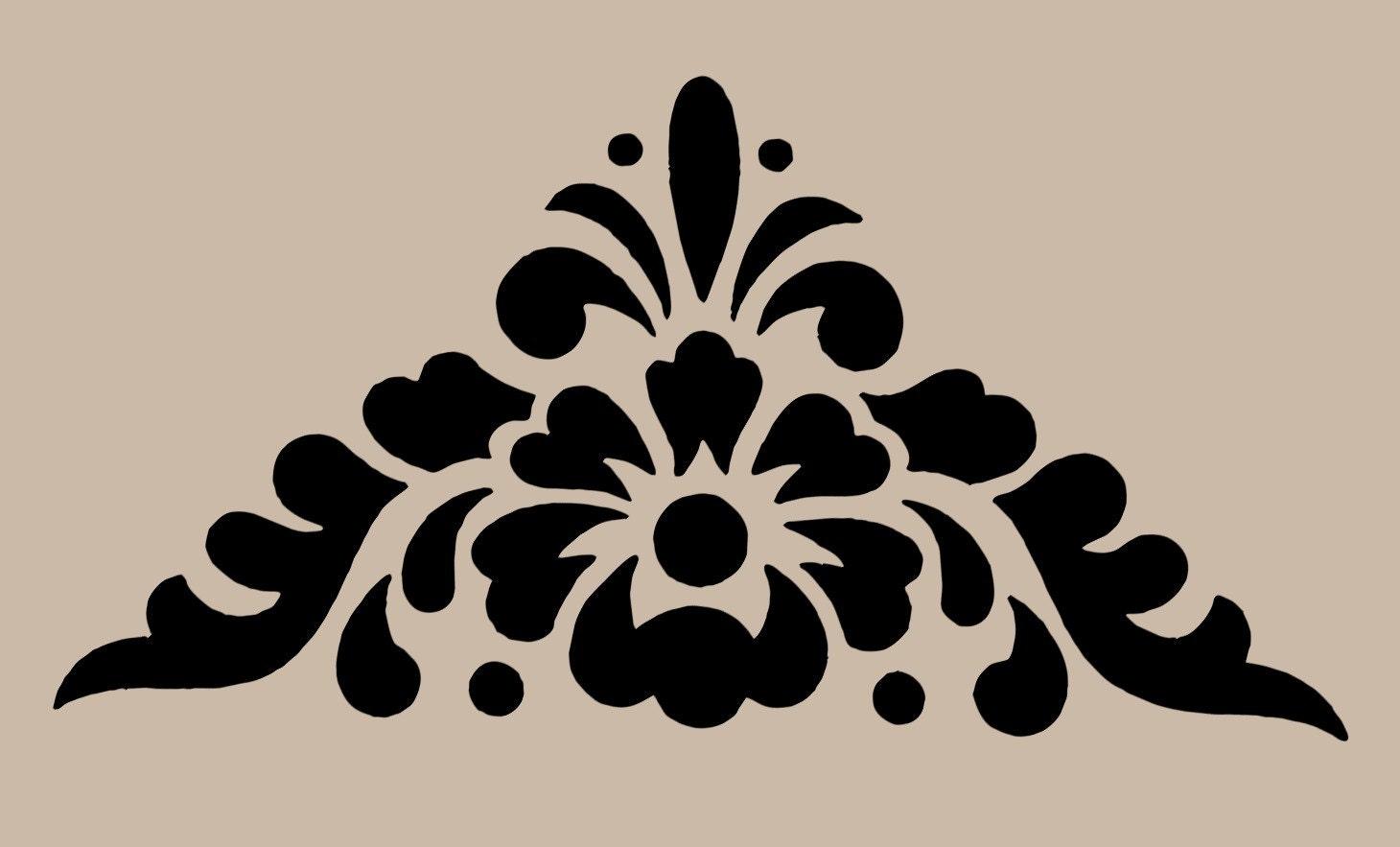 stencil floral motif corner 10x9 7. Black Bedroom Furniture Sets. Home Design Ideas