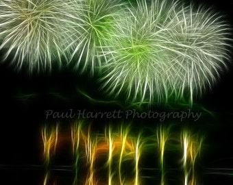 Fine Art Photography - Photo Art - Fireworks - July 4th - Lopez Island - Fractals - 11 X 14 prints