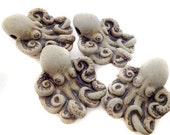 10 Highfired Octopus Beads - peruvian, ceramic, large hole, hemp - LG640