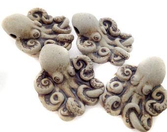 10 Highfired Octopus Beads - peruvian, ceramic, large hole, hemp - LG640
