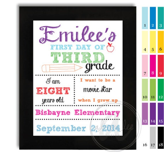 Personalized First Day of School Sign (digital file)