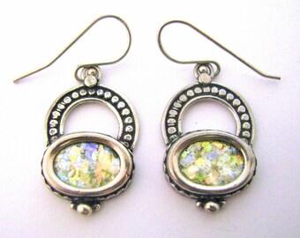 Beautiful  Roman Glass 925 Sterling Silver   Earrings