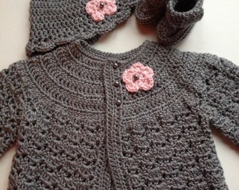 Crochet Baby Sweater Hat Booties Set Heather Grey 3-6 mo