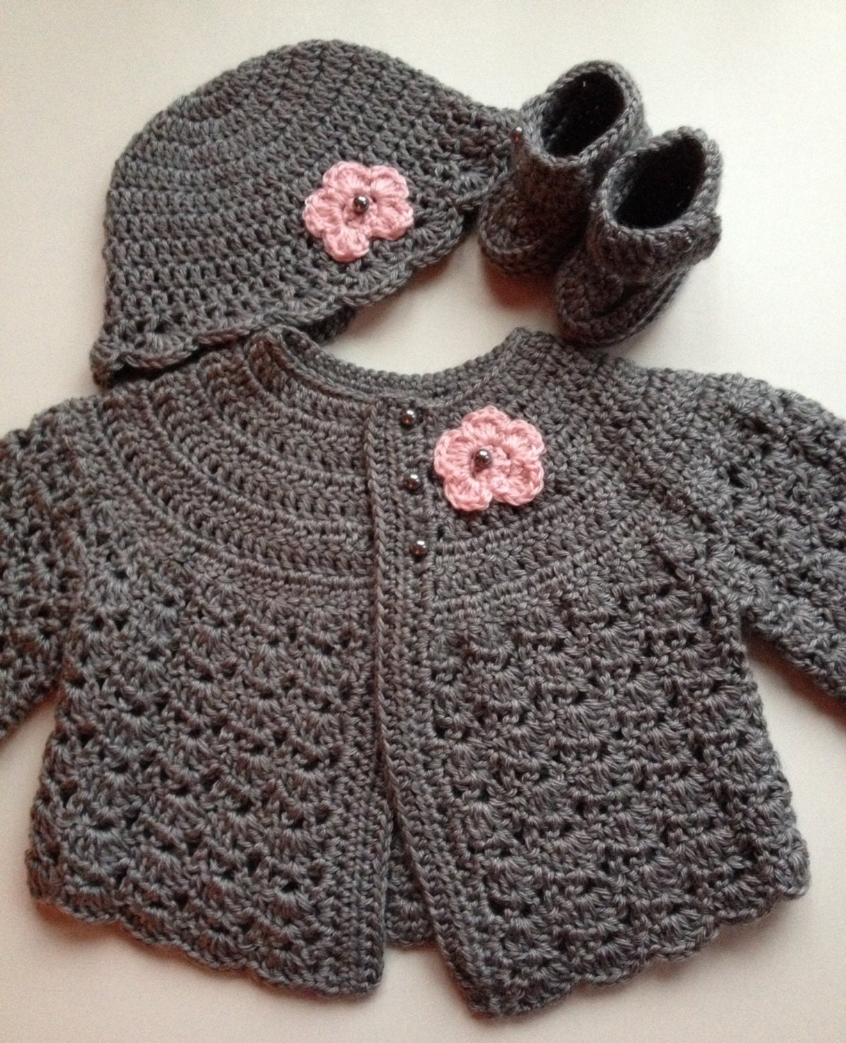 Crochet Baby Hat And Sweater Pattern : Crochet Baby Sweater Hat Booties Set Heather Grey 3-6 mo