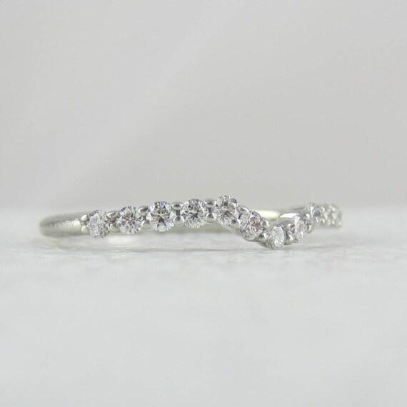 Vintage Curved Platinum And Diamond Wedding Ring Wishbone
