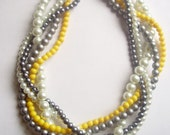 Yellow grey white braided twisted chunky statement pearl necklace