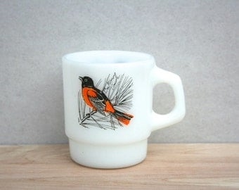 Fire King Baltimore Oriole Bird Cup