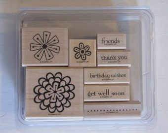 Stampin' Up! Garden Greetings Wood Mount Stamp Set