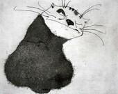 Etching / limited edition original etching (printmaking / graphic art) / original print / original art / cat print / cat etching - 'Oleg'