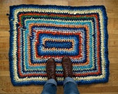 Blue & Orange Rectangle Rug