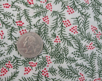 Cotton Christmas Fabric, Pine Needles & Berries, Small Scale Print - Nice for Dolls - 2 Yards