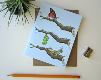 Monarch Butterfly Greeting Card - Just Because Note Card - Handmade Card - Blank  Notecard - Cotton Cardstock - Eco Friendly