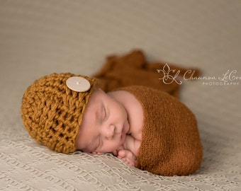 SET Butternut Button Hat and Rust Brown Stretch Knit Wrap Newborn Photography
