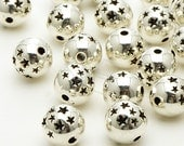 ME-152-AS / 10 Pcs - Metalic(CCB) Star Ball Bead, Antique Silver Plated over Acrylic / 9mm