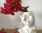 Vintage 1930's Inspired Porcelain Double Aye Chihuahua Flower Girl Head Vase