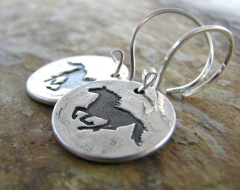 Galloping Horse Earrings in Fine and Sterling Silver, Artisan Handmade Original by SilverWishes
