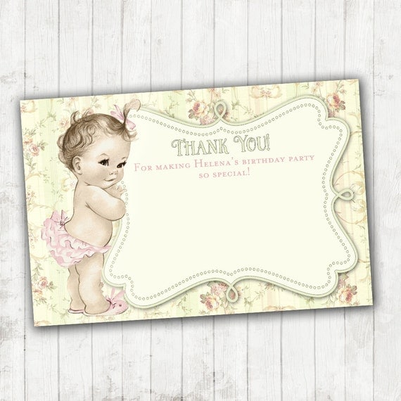 Shabby Chic Floral Thank You Card Matching Vintage Baby Shower