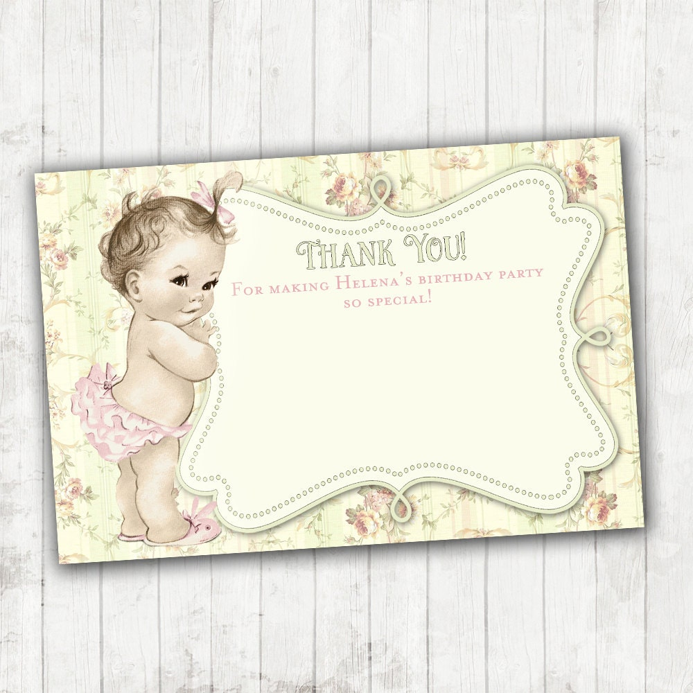 Vintage Baby Shower Thank You Cards: Shabby Chic Floral Thank You Card Matching Vintage Baby Shower
