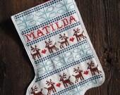 Matilda Reindeer & Snowflake DIY Indie Modern Cross Stitch Holiday Stocking Pattern w/ Custom Name- Digital PDF