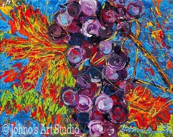 modern wall art, Impressionism art, Fruit painting, purple grapes, print by Johno Prascak