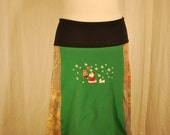 Recycled tee shirt and sweater knit skirt  with yoga pant style waistband size large  L0034