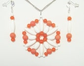 Orange and White Pendant and Earrings