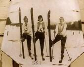 Vintage 1930's Ladies Ski Team - Rusty Tin – Ski Decor - Ski - Vintage Ski - Rustic Decor - Rustic - Wall Decor - Ski Team