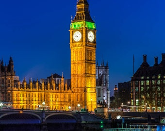 London Photography -- Big Ben and Wesminster London Art, London Print, London Skyline