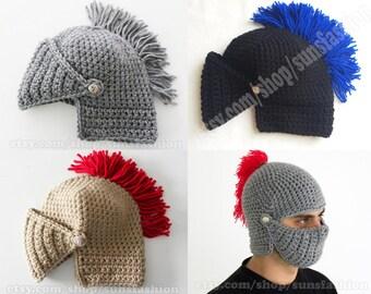 Knight Helmet Hat Crochet Slouch Mens hat gift mens boyfriend gift Weather Hats  Snowboard Ski Hat unisex