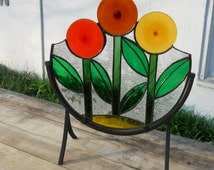 Stained Glass Lollipop Flower Panel