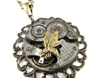 Steampunk Necklace, Victorian Honey Bee Statement Necklace, Antique Pocket Watch, Steampunk Jewelry by Compass Rose Design