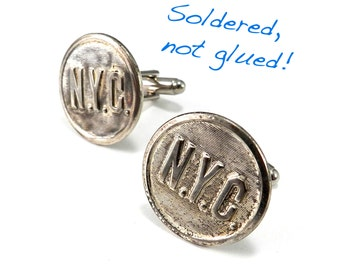 Steampunk Cufflinks, New York Railroad Cuff Links, Soldered Antique NYC Steel Uniform Buttons New York Central Railway