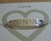 DIABETIC Medical Alert Bracelet Jewelry Hand Stamped customized Bracelet Sterling silver Bar Personalized Jewelry Silver DIABETIC Bracelet