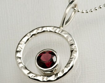 Red Garnet in Sterling Silver Hammered Circle Pendant, 8mm Pyrope Red Garnet, January Birthstone Necklace Sterling Silver, Mothers necklace