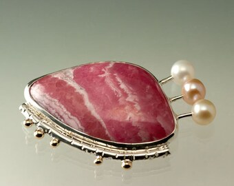 Rhodochrosite Brooch with Fresh Water Pearls in Sterling Silver and 14kt Yellow Gold, One of a Kind and Ready to Ship, 52 Brooch Challenge