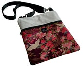 Eggshell Ivory Leather Cranes Birds Asian Flowers Oriental Japanese Fabric iPad Kindle Nook Passport Messenger Bag Sling