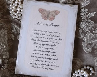 A Nurses Prayer Plaque, distressed white, nurse gift, butterfly