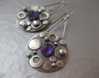 Bubble Earrings.  Sterling silver rounds with Amethyst