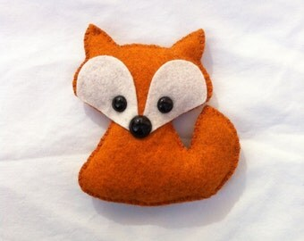 wool felt fox plush toy / christmas ornament / baby mobile attachment - orange