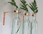Copper and Glass Bottle Sconce // Set of Three // Industrial Hanging Vase // Unique glass planter