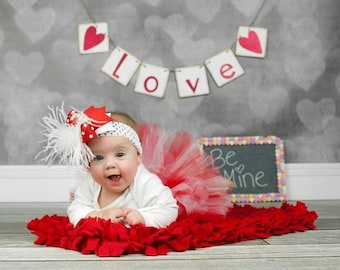 Over The Top Boutique Hairbow..Valentine Be Mine Spikey Layered Boutique Bow and Headband..Great for Newborn Toddler big Girl