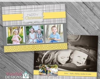 INSTANT DOWNLOAD - Silver and Gold Christmas Card No. 1 - 5x7 photo card templates for photographers on whcc specs