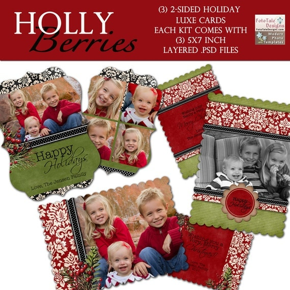 Holly Berries LUXE Christmas Card Collection- 3 double sided 5x7 templates on WHCC specs