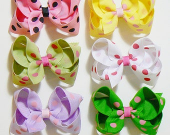 Girls Polka Dot Hair Bow Set Small Toddler Girls Hair Bows Little Girl Hair Bows Hair Clips Hairbows Hair Accessories for Kids (Set of 6)