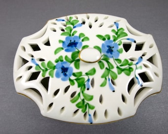 Vintage Vanity Box Andrea by Sadek Porcelain Pierced White w/ Blue Flowers Green Leaves  Top Jewelry Keepsake Candy Potpourri Box