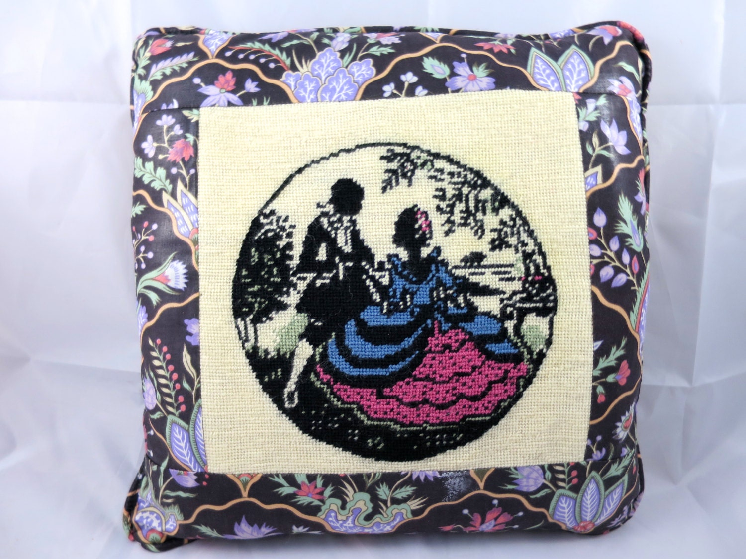 Victorian Tapestry Pillows : Vintage Needlepoint Pillow Victorian by BonniesVintageAttic